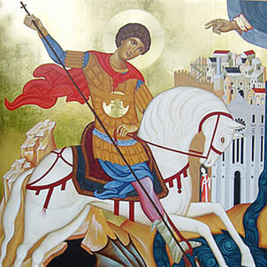 Representació medieval de Sant Jordi. Font Esglesia San Giorgio extra Moenia. Reggio Calabria (Itàlia).