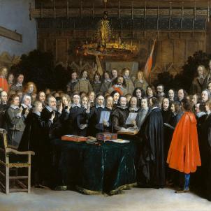 La monarquia hispànica prioritza el domini sobre Catalunya al dels Països Baixos. Retrat coetani de la signatura del Tractat de Munster. Font Geheugen van Nederland