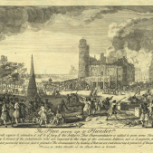 Test 11. El setge borbonic de Barcelona. Gravat de l'assalt a l'interior de la ciutat obra de Jacques Rigaud (1732). Font Musée de l'Armée.