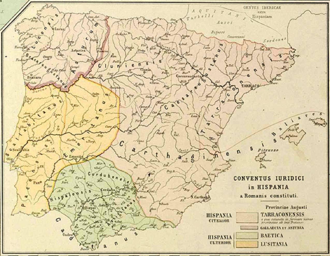 Mapa de les divisions conventuals romanes. Kiepert, 1893. Font Biblioteca Nacional de España