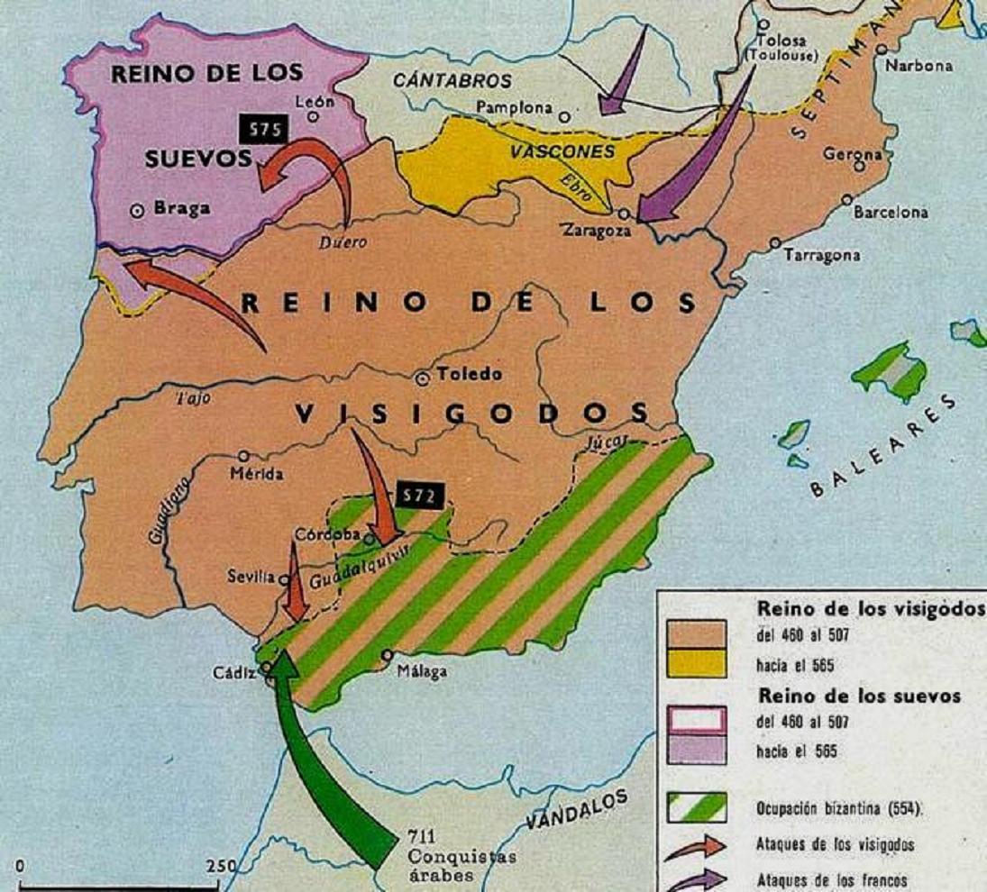 Mapa de la divisió política de la península a l'Alta Edat Mitjana. Font Wikipedia
