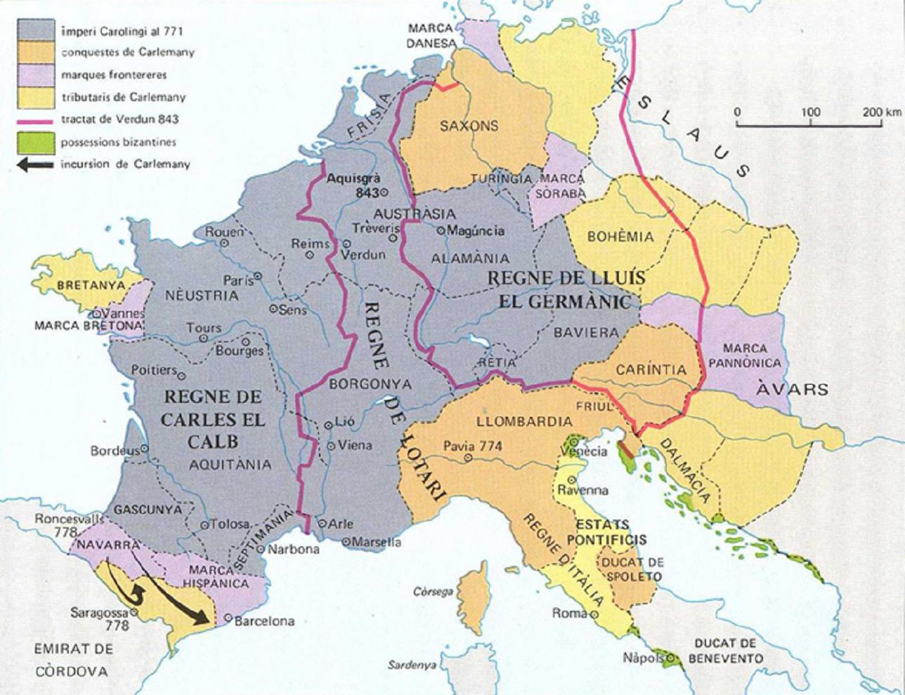 Mapa de l'Imperi franc. Font Enciclopčdia