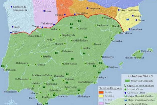 Mapa de la divisió política de la península a l'any 1000. Font Wikimedia