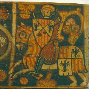 Representació coetània d'un cavaller normand que porta els estendarts de Barcelona i de Sicilia. Font Arxiu d'El Nacional