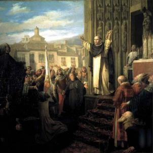 El Compromís de Casp. Representació contemporània de Sant Vicent Ferrer anunciant l'elecció de Ferran de Trastàmara. Font Institució Alfons el Magnànim. València (1)