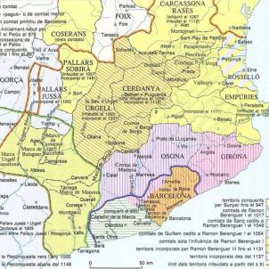 Test 14. La primera independčncia. Mapa de l'evolució territorial dels comtats catalans entre els segles IX i XII. Font Enciclopedia