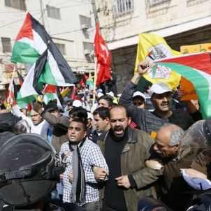 Palestinians demonstrate in the 20th anniversary of the Massacre of Hebron (Mustafa Bader)