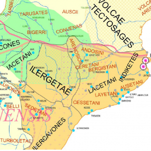 Test 16. Els pobles nord iberics. Mapa de la distribució territorial dels pobles nord ibèrics. Font Arxiu d'El Nacional
