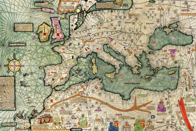 Atles català atribuït a Abraham Cresques (1375). Font Biblioteque National de France