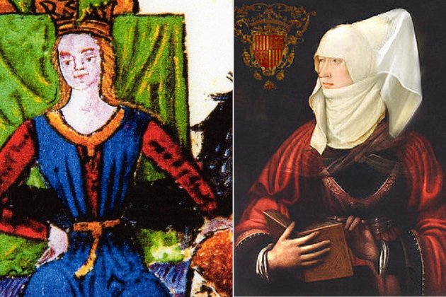 Maria de Sicilia i Blanca de Navarra. Font Viquipèdia