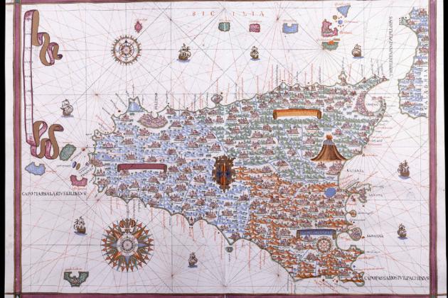 Atles de Sicilia (1587) obra del cartograf Joan Martines. Font Biblioteca Nacional de España