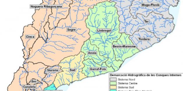 Rios De Cataluña Mapa.Los Rios De Catalunya