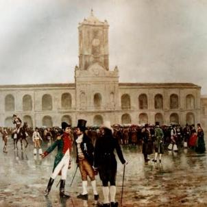 Test 17. Els indianos catalans i les repúbliques americanes. Discussió entre independentistes i colonialistes a la plaça del Cabildo (1810), Font Museo Histórico Nacional. Buenos Aires