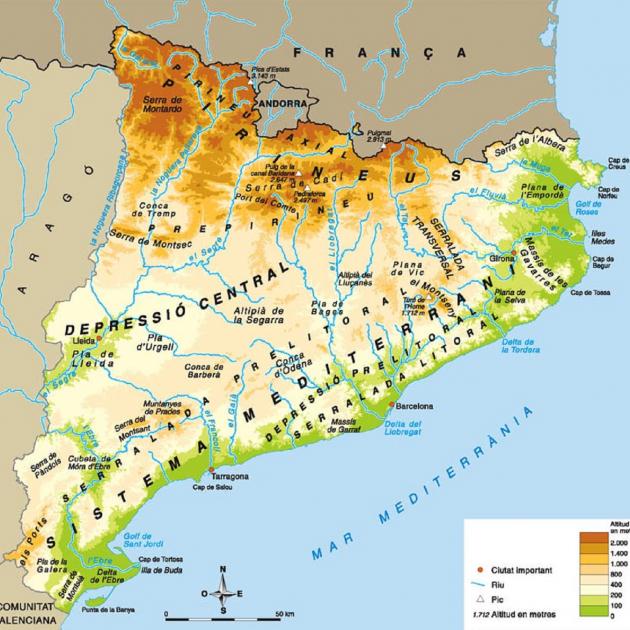 Rios De Cataluña Mapa.Los Relieves De Catalunya