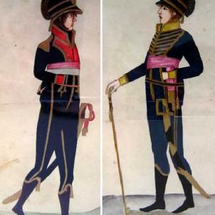 Soldat i oficial d'artilleria del Miquelets de Catalunya. Font Wikipedia