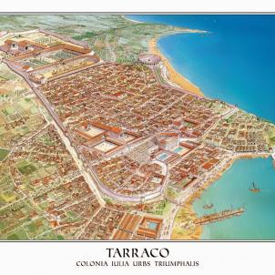 Test 18. La conquesta romana. Dibuix idealitzat de la Tàrraco romana. Font Patronat Municipal de Turisme de Tarragona