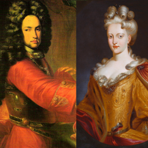 Primera representació d'òpera a Catalunya. Retrats coetanis de Carles d'Habsburg i Elisabet Cristina de Brunsvic. Font Viquipèdia