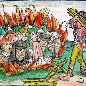 Assalten el call de Barcelona. Representació coetània d'un pogrom. Font Wikipedia France