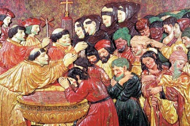Representación coetánea de un bautizo masivo forzoso. Fuente Archivo de El Nacional