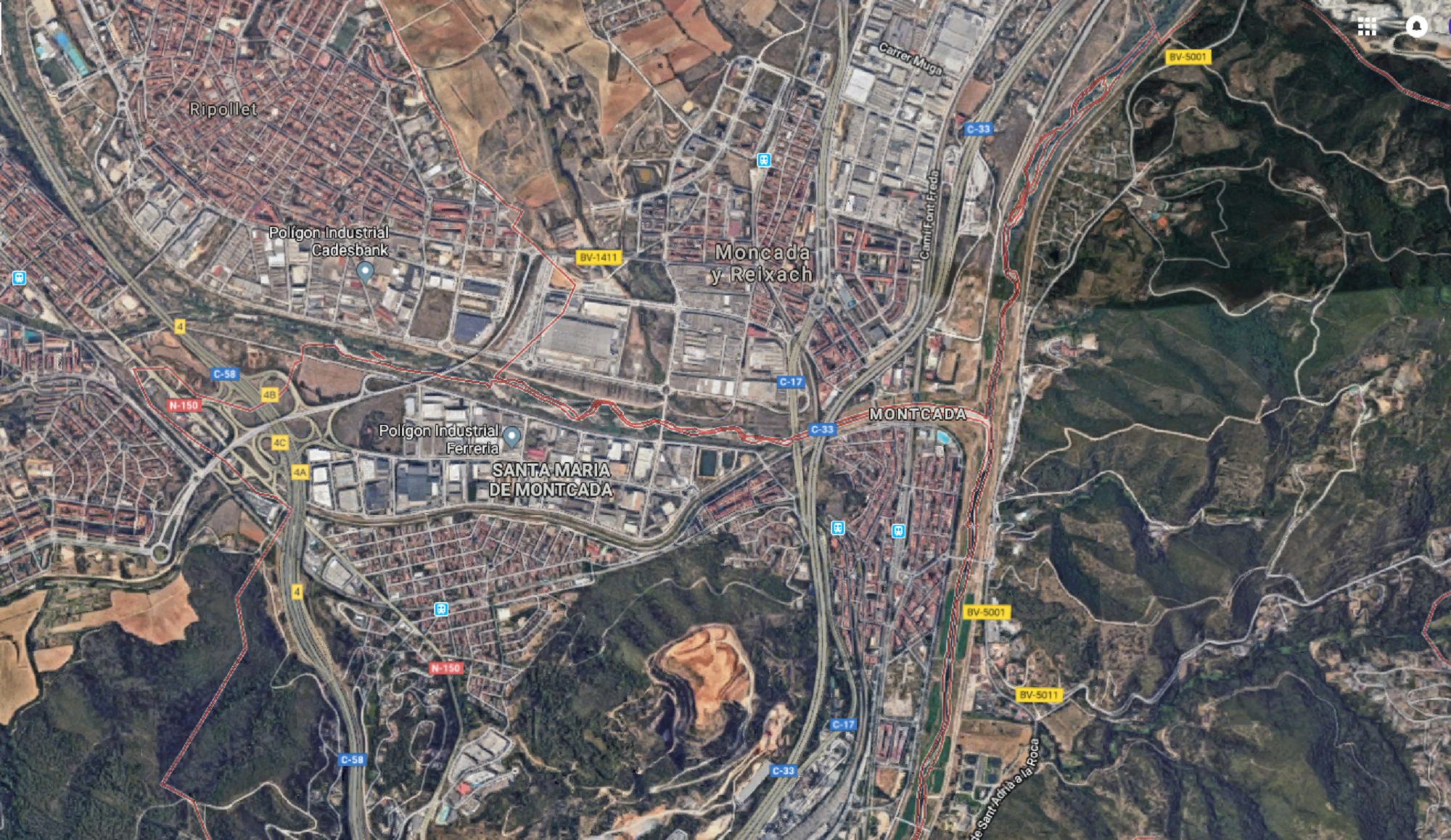 Moncada i Reixac Incendi   Google Maps