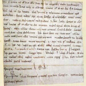 Ramir II d'Aragó confirma la donació del seu regne a Ramon Berenguer IV comte de Barcelona.  Confirmació d'Ayerbe. Font Viquipèdia