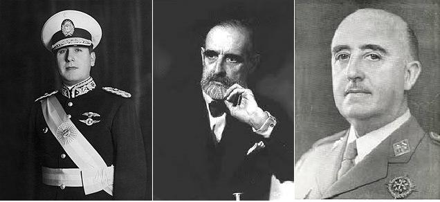La colección de pinturas de Cambó provoca un conflicto diplomatic entre Peron y Franco. Perón, Cambó y Franco en los años 40 del siglo XX. Fuente Wikipedia rutas Barcelona