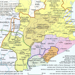 L'Abat Oliba consagra la catedral de Vic per a independitzar les diócesis catalanes. Mapa dels comtats catalans durant la centúria del 1000. Font Enciclopèdia