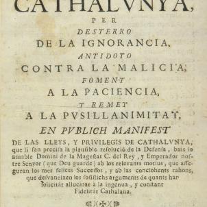 Portada del Despertador de Catalunya. Publicació de l'acord dels Tres Comuns el 6 de juliol de 1713. Font Enciclopedia