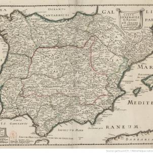 Mapa francès de la península ibèrica fet durant el conflicte sucessori (1707). Font Bibliothèque Nationale de France