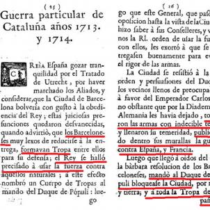 Test 23. La Guerra dels Catalans. Fragment de la carta de serveis del borbonic Antonio Alòs. Font Viquipèdia