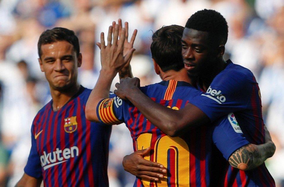 Barça pinya gol Reial Societat Anoeta Messi Dembele Coutinho . EFE