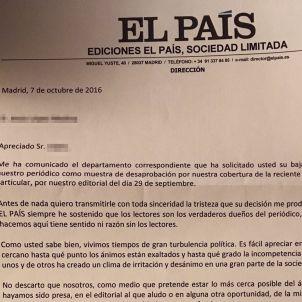 El País carta als subscriptors 20161007