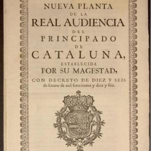 Test 24. El Decret borbonic de la Nova Planta. Portada de la Nova Planta imposada a Catalunya. Font Viquipèdia