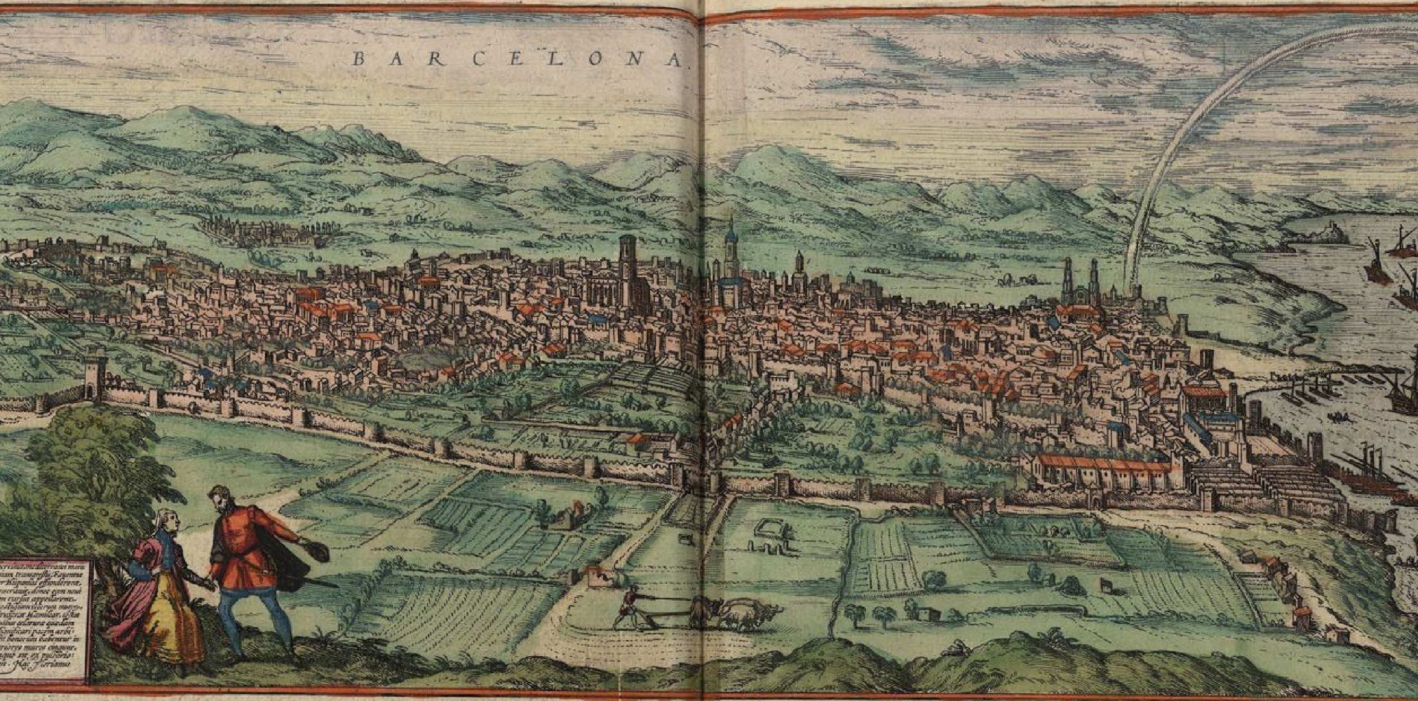 Test 25. La immigració occitana del barroc. Gravat de Barcelona (1572) obra dels cartografs alemanys Braun i Hohenberg. Font Wikimedia