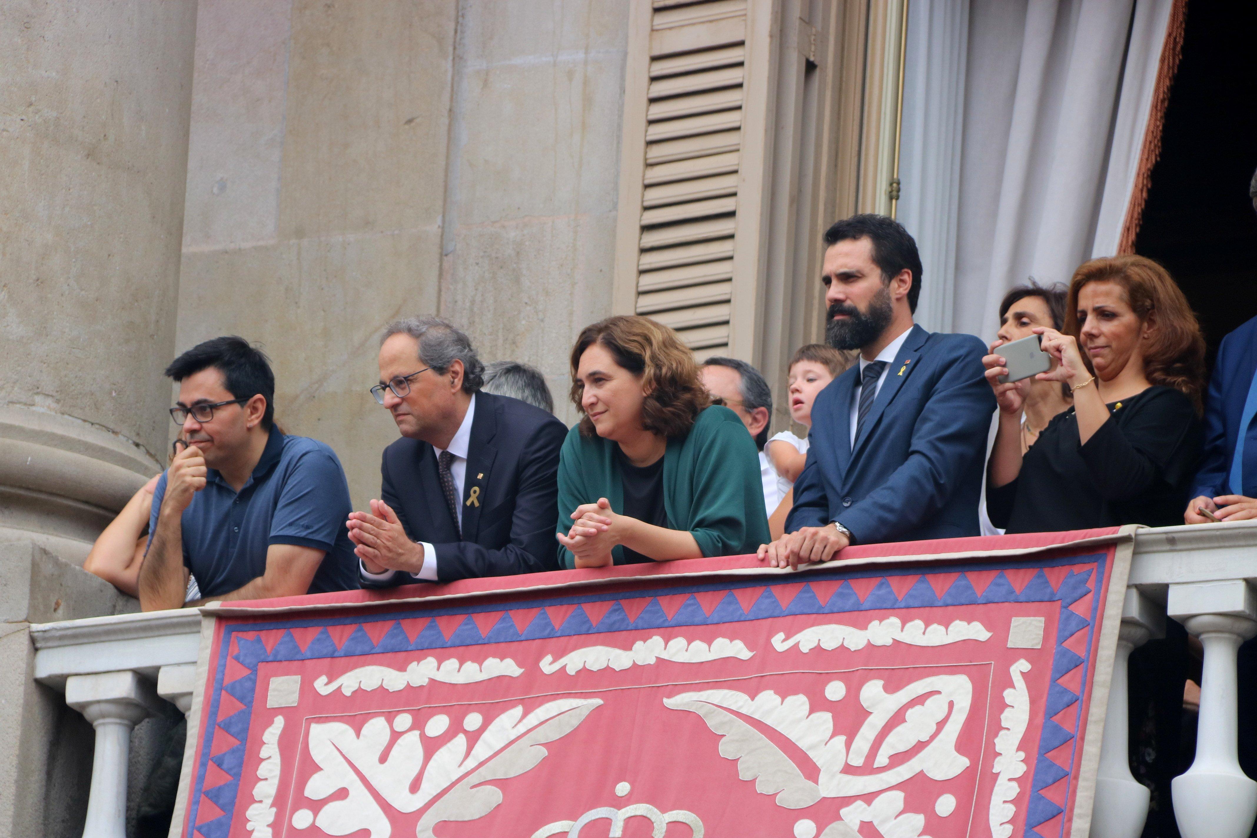 balcó ajuntment Torra, Coalu, Torrent, Pisarello / ACN