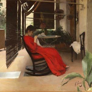 Cosint, dona amb vestit vermell, 1889 Casas
