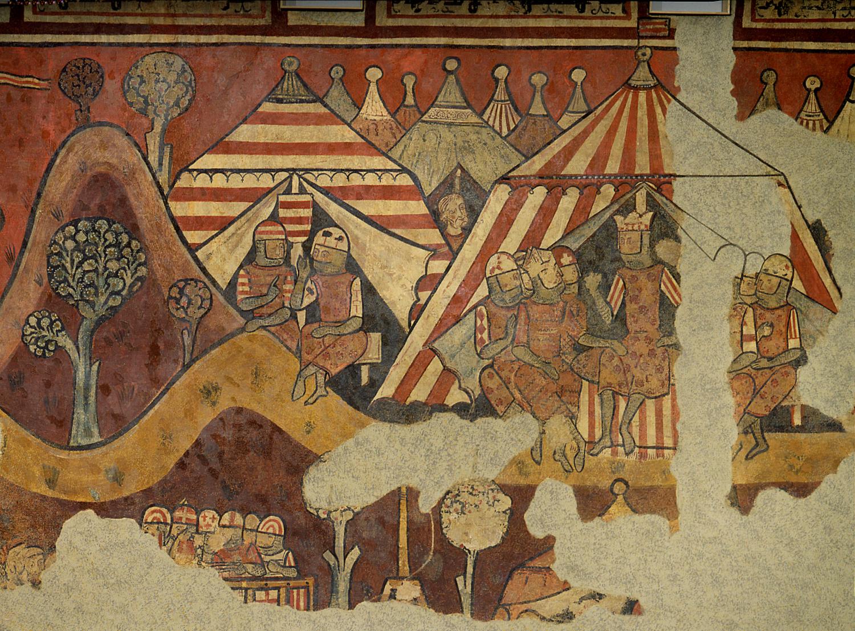 Test 28. La conquesta catalana de Mallorca. Pintura mural coetània que representa el campament militar català. Font MNAC