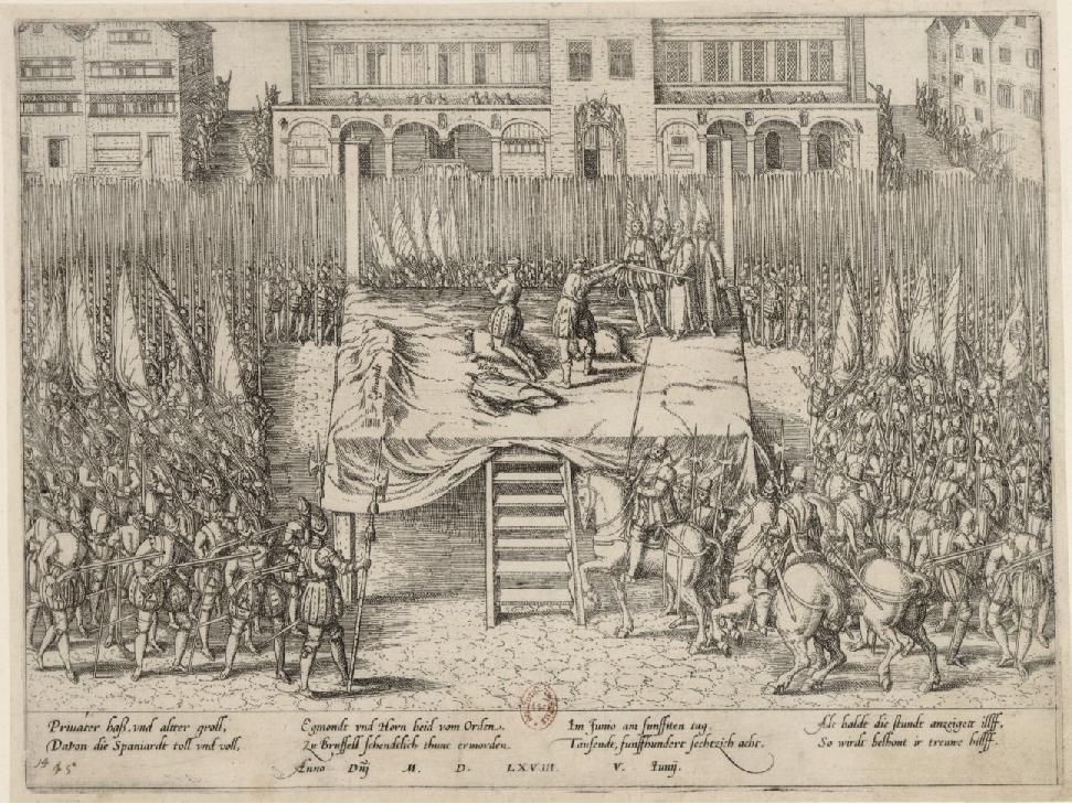 Gravat coetani que representa l'execució dels comtes d'Egmont i Horn. Font Bibliothèque National de France (1)