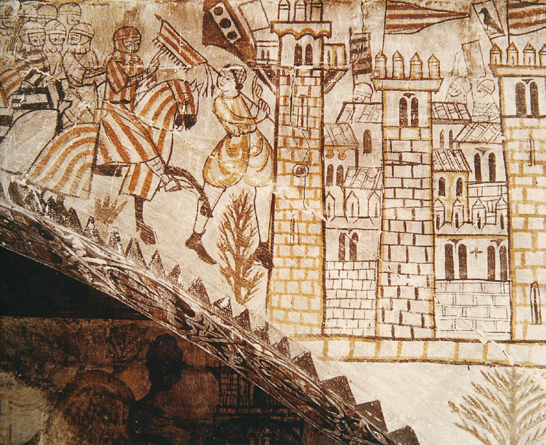 Test 29. La conquesta de València. Fresc que representa l'entrada dels exercits catalano aragonesos a la València islàmica. Font Enciclopedia