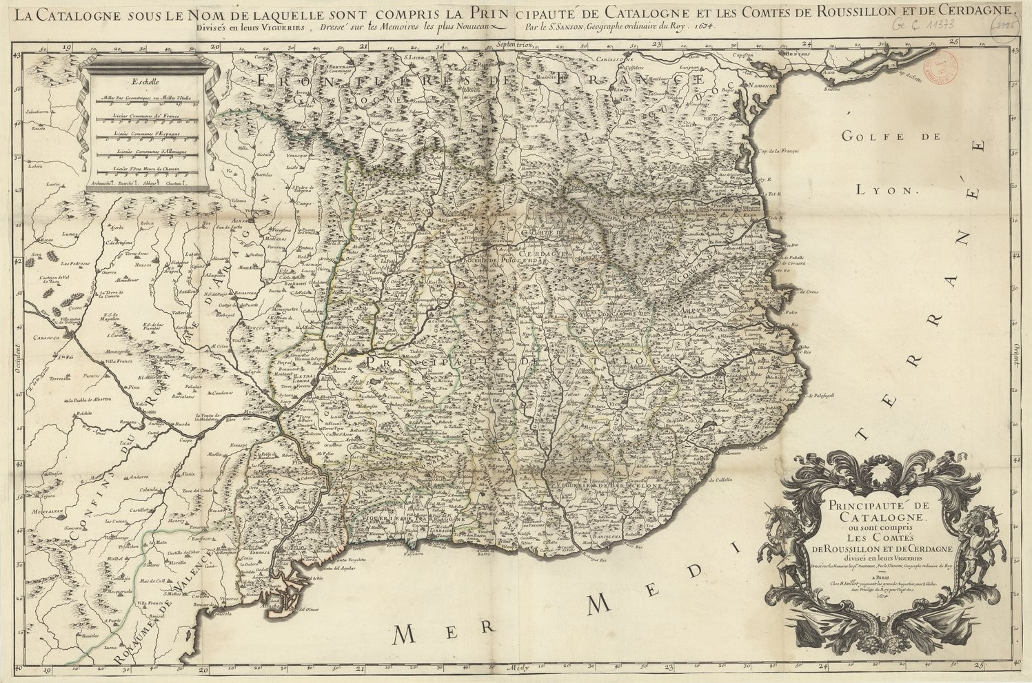 Mapa de Catalunya (1674). Fuente Bibliothèque Nationale de France (1)