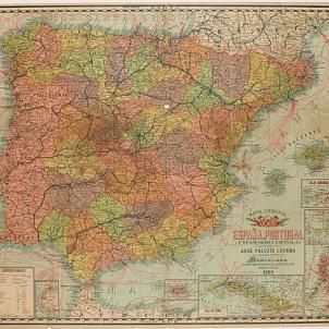 El PSOE es pronuncia a favor de la Confederació de Nacions Ibèriques. Mapa d'Espanya, Portugal i ex posesions espanyoles. José Paluzié (1909). Font Museu Paulista. Universitat de Sao Paulo