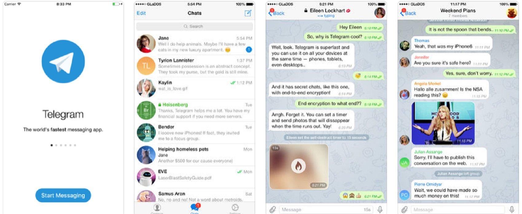 captures de pantalla de xats de telegram