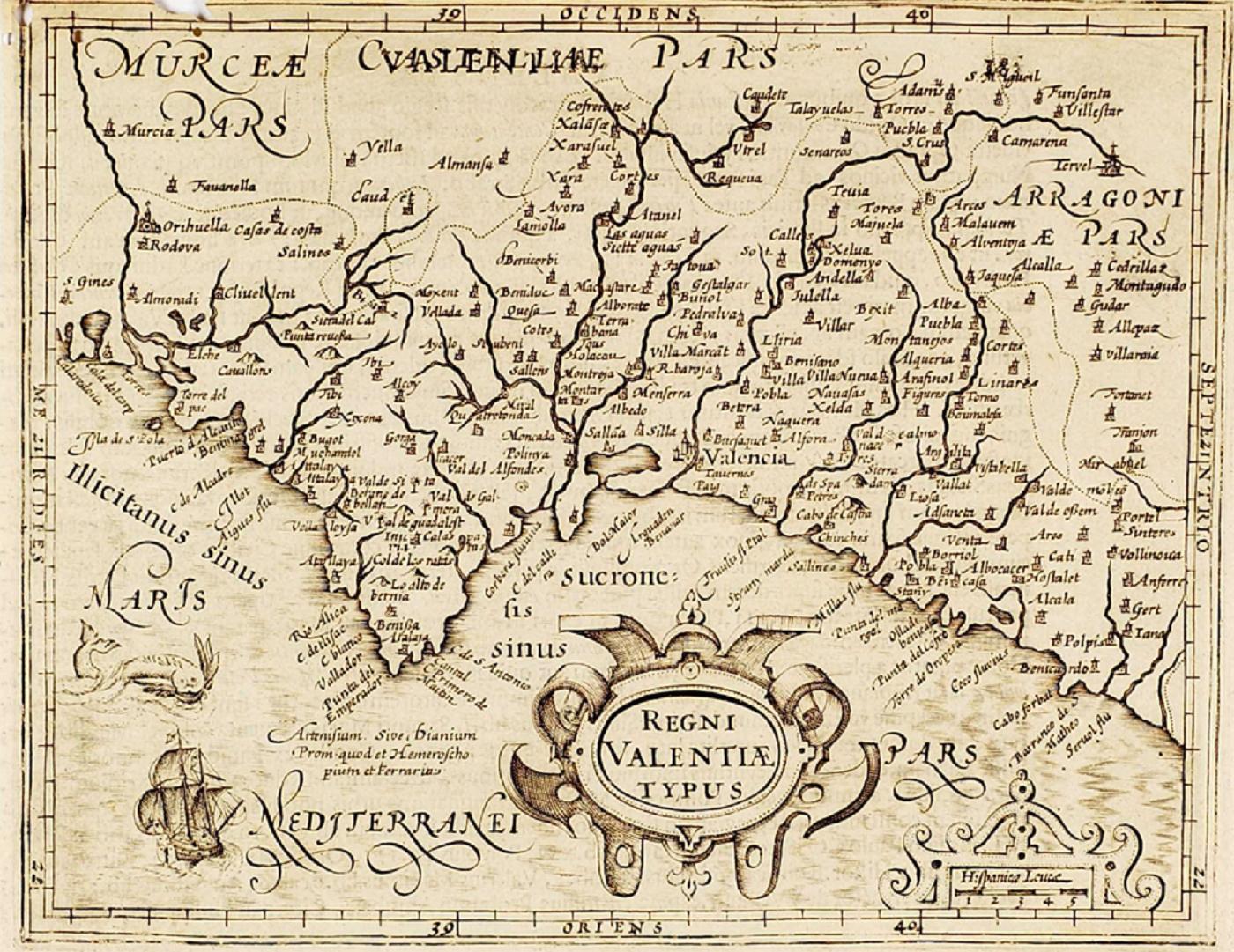 Mapa del País Valencià (1607). Font Biblioteca Valenciana Digital. Generalitat Valenciana