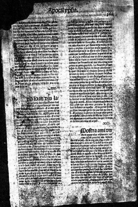Primera Biblia impresa en català. València, 1477. Font Viquipedia