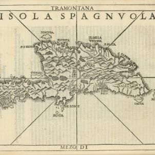 Bernat Boïl i Ramon Pané oficien la primer missa católica de la història americana. Mapa de la Hispaniola (1556). Font Library of Brown University. Rhode Island