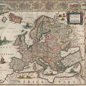 Els Braços Generals proclamen la I República catalana. Mapa d'Europa (1641). Font Biblioteca Nacional de Noruega. Oslo