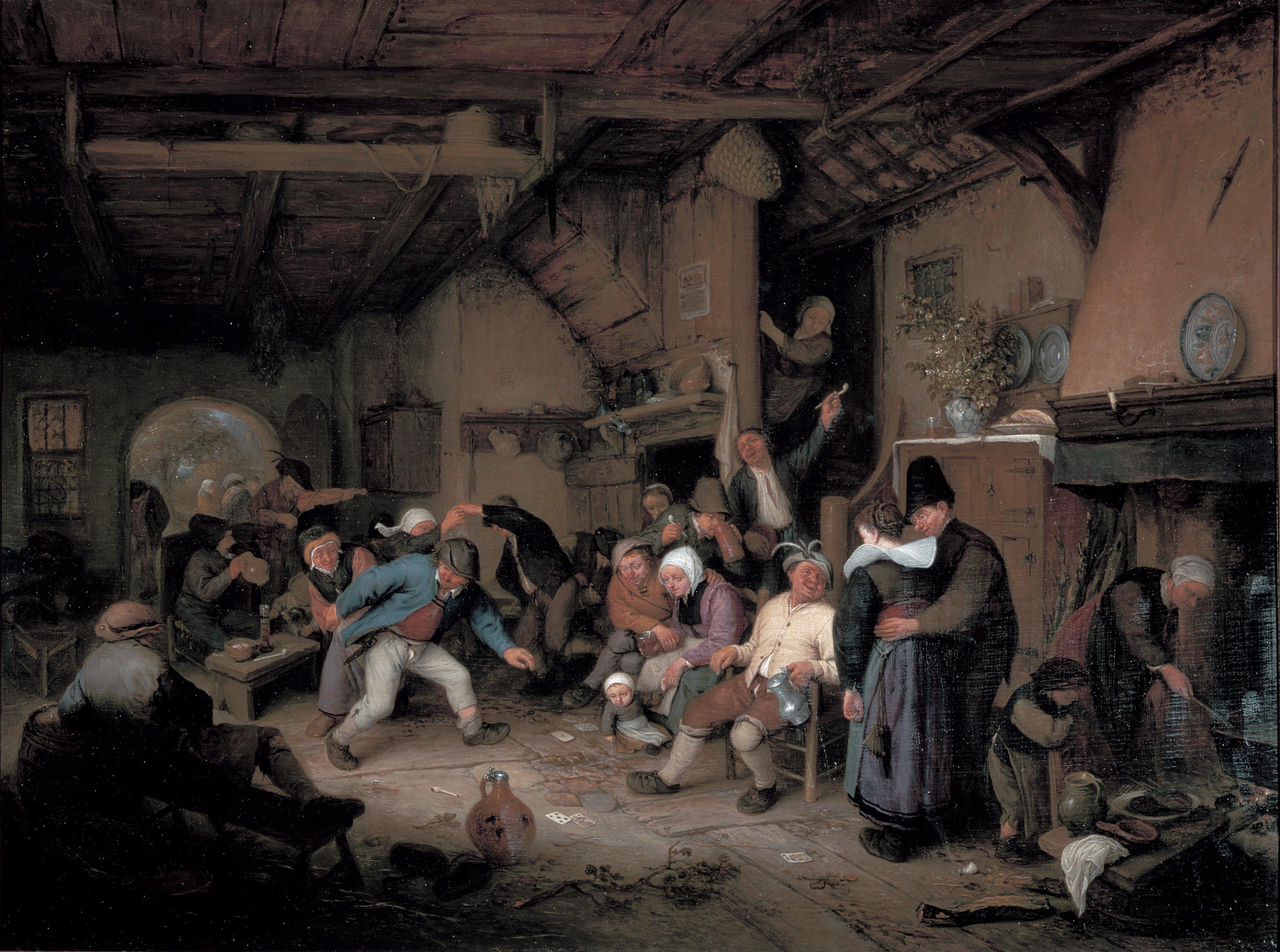Pagesos ballant en una taverna (Adriaen van Ostade, 1659)