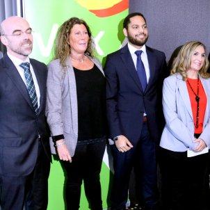 Portaveu de Vox a Barcelona Jorge Buxadé la líder a la ciutat Lola Martín el portaveu nacional Ignacio Garriga la líder a Tarragona Isabel Lázaro i el de Girona Alberto Tarradas ACN