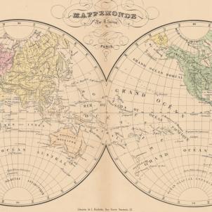 Test 44. Personalitats catalanes al món. Mapamundi francès (1822). Font Cartoteca de Catalunya