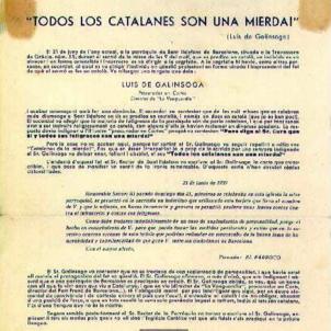 Mor Galinsoga. Todos los catalanes son una mierda. Full informatiu redactat pel catalanisme en la clandestinitat. Font Institut Català d'Antropologia